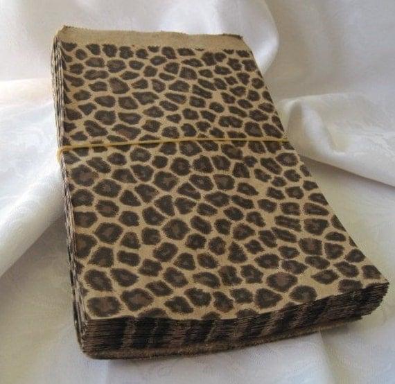 Paper Bags, Cheetah Leopard Animal Print, Gift Bags, Favor Bags, Brown Paper Bags, Kraft bags 6x9 Pack 50