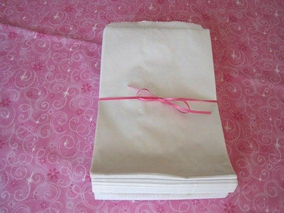 White Paper Bags, Kraft Paper Bags, Gift Bags, PartyFavor Bags, Paper Gift Bags, Merchandise Bags, Flat Bags 6x9 Pack 100