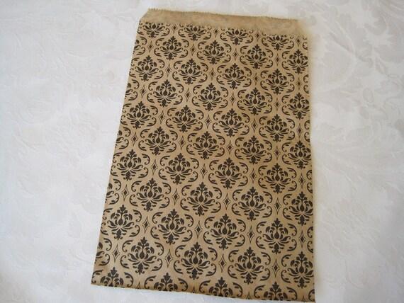 50 Paper Bags, Damask Print, Gift Bags, Favor Bags, Paper Gift Bags, Kraft Paper Bags, Black Damask, Merchandise Bags 6x9