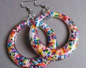 Resin Hoop Earrings, Resin Jewelry, Rainbow, Vintage Showgirl Style, Hoop Earrings, Resin Earrings, Sprinkle Earrings, Retro Earrings