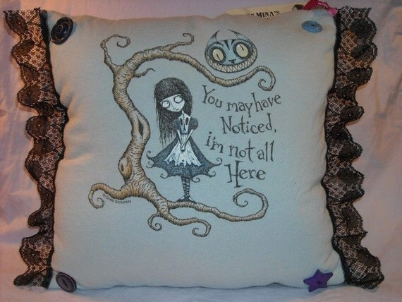 Lace and Buttons Blue Alice Pillow