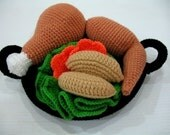 Crochet Pattern - CHICKEN HOT WOK- Toys / Playfood  (00421)