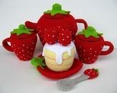 Crochet Pattern - STRAWBERRY TEA SET- Toys - PDF