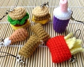 Miniature Crochet Pattern- FAST FOOD- Cell Phone Charm  (00342)