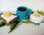 Crochet Pattern - FOOD PURSE 3 - Coffee, Bread and Egg (00470)