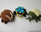 Crochet Pattern - BUGS PURSE - Cockroach, Bee and Beetle - PDF  (00459)