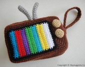 Crochet Pattern - VINTAGE TELEVISION PURSE - For cell phone / money / others - in pdf  (00354)