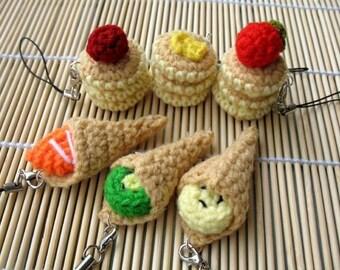 MINIATURE Crochet Pattern-PANCAKES / CREPE-Phone Charm  (00338)