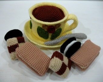 Crochet Pattern - Coffee and Biscuits - Play Food / Toys  (00386)