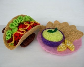 Crochet Pattern - TACO and CHIPS with SALSA- Toys / Playfood - pdf  (00382)