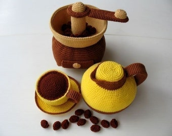 Crochet Pattern - COFFEE MAKER- Toys / Playfood - PDF  (00350)