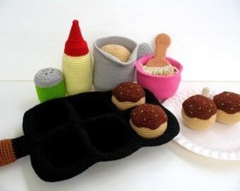 Crochet Pattern - TAKOYAKI OCTOPUS BALL - Toys / Playfood  (00422)