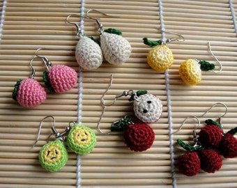Crochet Pattern - FRUITY EARRING - Jewelry / Accessories  (00393)