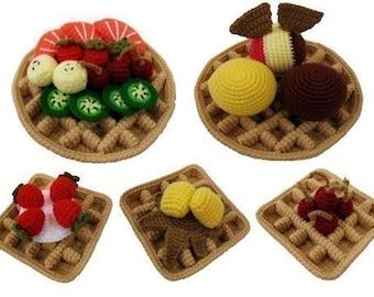 Crochet Pattern - WAFFLES - Toys / Playfood - PDF (00379)