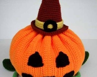 Crochet Pattern - HALLOWEEN PUMPKIN - Toys/ Deco/ Fruit  (00356)