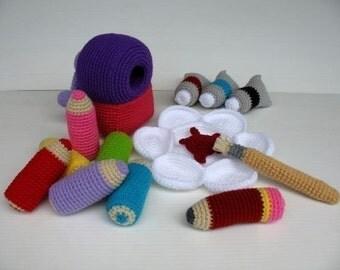 Crochet Pattern - COLORING SET- Toys - PDF  (00429)