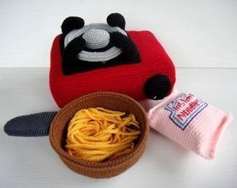 Crochet Pattern - PORTABLE STOVE- Toys / Playfood - PDF  (00359)