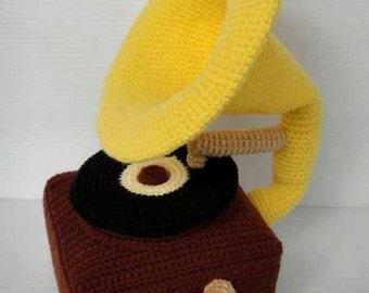 Crochet Pattern - GRAMOPHONE - Toys / Deco / PDF / Music  (00392)