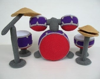 Crochet Pattern - DRUM SET - Toys - PDF  (00426)