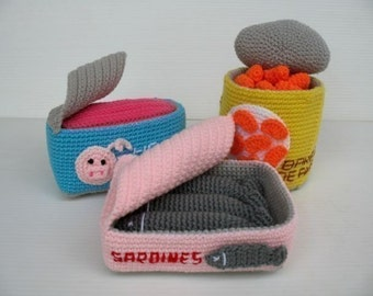 Crochet Pattern - CANNED FOOD- Toys / Playfood - PDF  (00427)