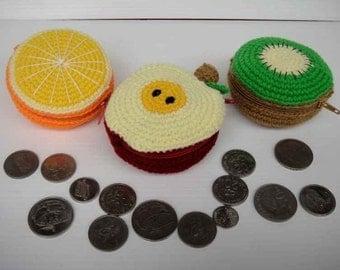 Crochet Pattern - FRUIT PURSE 1 - Orange, Apple and Kiwi - PDF  (00370)