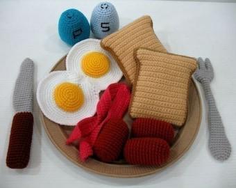 Crochet Pattern - WESTERN BREAKFAST- Toys / Playfood - PDF  (00434)