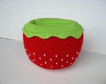 Crochet Pattern - Cell Phone Holder - STRAWBERRY  (00394)