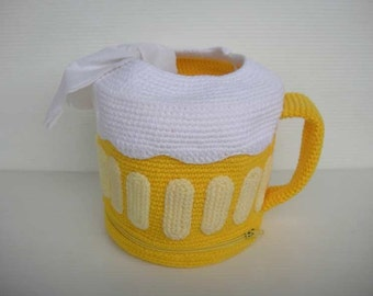 Crochet Pattern - BEER MUG - Tissue Roll Holder - PDF  (00366)