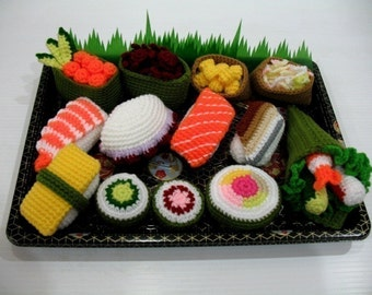 Crochet Pattern - SUSHI - play food / toys  (00442)