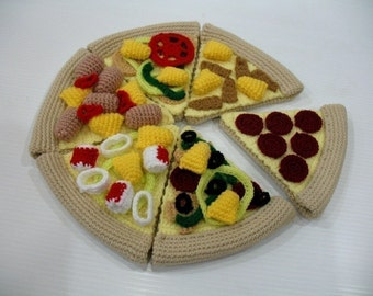 Crochet Pattern- PIZZA - playfood / toys - PDF  (00428)