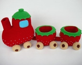Crochet Pattern - Strawberry Train Set - PDF - Toys  (00367)