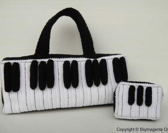 Crochet Pattern - PIANO KEY tote bag and purse- PDF  (00364)