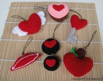 Miniature Crochet Pattern- VALENTINE  1 - Cell Phone Charm - pdf  (00336)