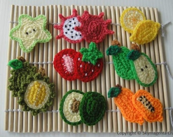 Crochet Pattern - FRUIT APPLIQUE 2 - PDF  (00383)