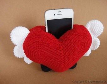 Crochet Pattern - Cell Phone Holder - HEART  (00438)