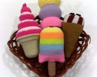 Crochet Pattern-ICE CREAM - food toys  (00335)