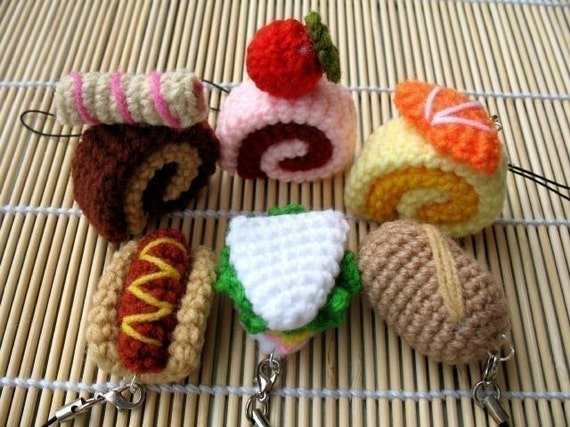 Miniature Crochet Pattern- SWISS ROLL and BREAD- Cell Phone Charm  (00340)