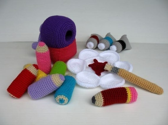 Crochet Pattern - COLORING SET- Toys - PDF