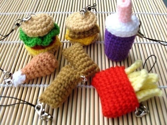 Miniature Crochet Pattern- FAST FOOD- Cell Phone Charm  (00342)