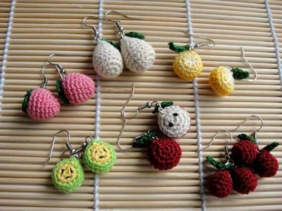 Crochet Pattern - FRUITY EARRING - Jewelry / Accessories  (00393)