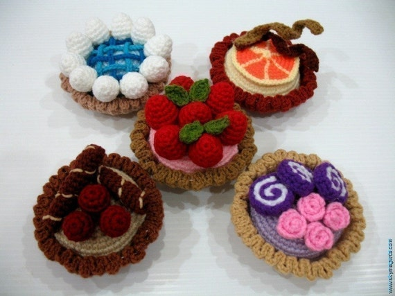 Crochet Pattern-MINI TARTS- playfood / toys-PDF  (00417)