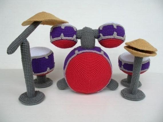 Crochet Pattern - DRUM SET - Toys - PDF  (00426)