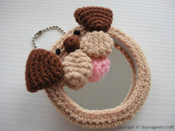 Crochet Handy Mirror - DOGGIE - Round 8 cm