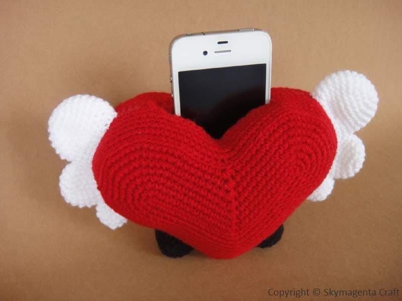 Crochet Pattern Cell Phone Holder HEART 00438