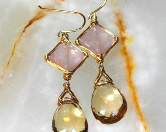 Wire Wrapped Gemstone Earrings
