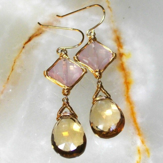 wire wrapped gemstone earrings