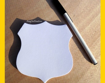 Handcrafted Police Badge Notepad White