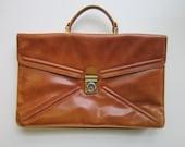 Vintage Battaglia Leather Portfolio Briefcase - Caramel Brown