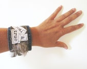 Repurposed Blue Jean, Leather and Feather Cuff by emmevielle // Real and True Denim Cuff Bracelet
