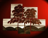 Large Original Tree Painting CUSTOM Modern Abstract HUGE Peaceful Art Autumn Fall Leaves Sepia Red Grey Green 56x40